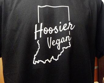 Hoosier Indiana Vegan T-shirt, hand screenprinted unisex, men's, women's tee, Indianapolis, Bloomington, Evansville, Fort Wayne, vegetarian
