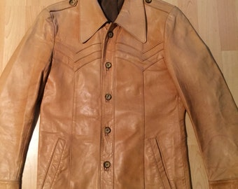 beautiful Leather Jacket In light yellow from 70's.