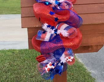 fourth of July swag,fourth of July mailbox swag,patriotic swag,patriotic mailbox swag,fourth of July Garland,patriotic garland