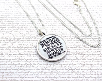 Winnie the Pooh, 'You Are Braver Than You Believe' Pooh Bear Quote Necklace or Keychain, Keyring