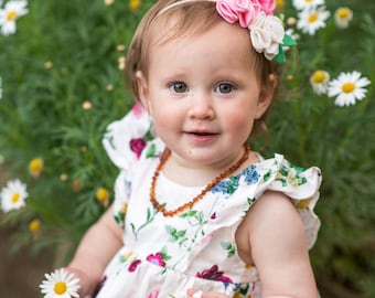 Blossom Trio Felt Flower Crown - Baby Headband - Baby Bows - Photo Props - Headbands or Clip - Infant and Toddler - Newborn - Baby Girl