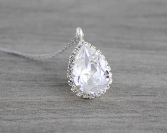 Crystal Bridal necklace, Bridesmaid necklace, Wedding jewelry, Swarovski crystal necklace, Wedding necklace, Pendant necklace, Teardrop