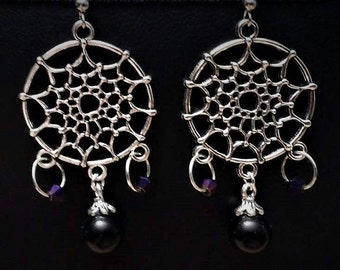 Tibetan Silver Black Pearl Dangle Earrings