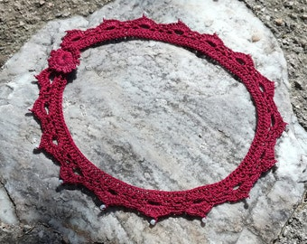 "crochet necklace with seed beads - ""Classy"" in purple"