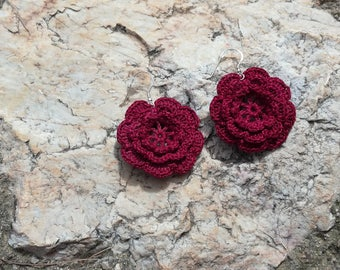 The Rose - Crochet earrings in purple