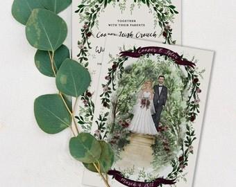 Custom Illustrated Wedding Invitations