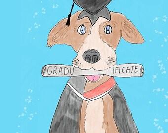 Graduation Dog greeting card