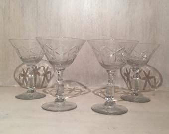 Vintage Glass Sherry Glasses (Set of 4)
