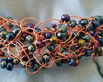Hand-crafted crochet beaded copper wire bracelet