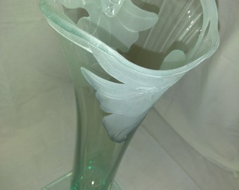 Frosted Engraved Glass Vase