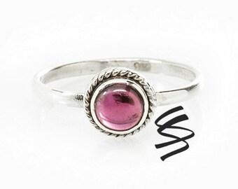 Cute Garnet Ring Silver Garnet Ring Garnet Jewelry Dainty Garnet Gemstone Ring Sterling Silver Stone Ring January Birthstone Garnet Gemstone