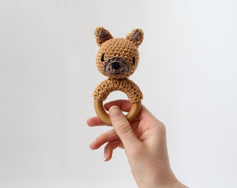 Crochet Fawn French Bulldog Rattle Wooden Teether – baby toy, handmade to order