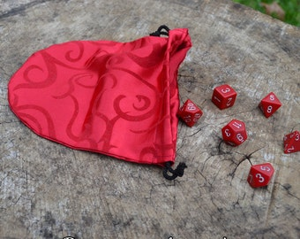 Drawstring Pouch - Red Flocked Satin