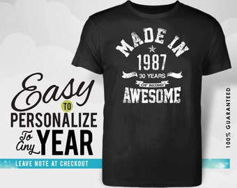 30th birthday, 30th birthday gifts for women, 30th birthday gift, 30th birthday tshirt ,1987 , 30th birthday gift for men, made in 1987