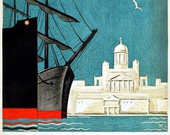 Vintage Helsinki Finland Tourism Poster A3 Print