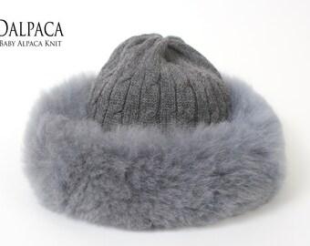 Baby alpaca knit hat w alpaca fur trim, Russian hat, fluff hat, alpaca hat, alpaca fur hat, knit hat, fur hat, alpaca fluff hat, winter hat
