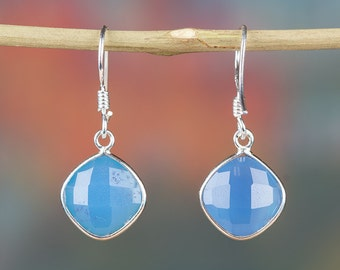 Blue Chalcedony Earring, Pure 92.5 % Sterling Silver Earring, Birthstone Earring, Handmade Jewelry, Gypsy Earring, Gift For Her, BJE-204-BCC