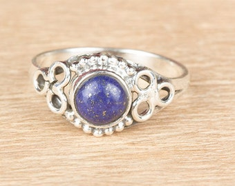 Lapis Lazuli Ring, Lapis Gypsy Ring, Lapis Cabochon Ring , Lapis  Stackable Ring, 925 Sterling Silver Ring, Lapis  Healing Ring, Round Ring