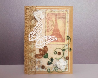 handmade paper cards, greeting cards handmade, quilling card, vintage cards, Eiffel Tower cards, vintage style cards, Victorian cards, Paris