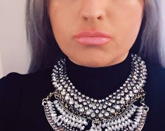 Dylanlex inspired statement necklace: Handcrafted Silver necklace Ethnic necklace Gypsy necklace Boho necklace