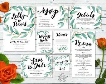 Printable Wedding Invitation Set | Kelly Set | Eucalyptus Watercolour Wedding Invite | Leafy Invitations | Save the Date | RSVP