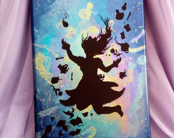 "Original iridescent acrylic painting ""tea party down the rabbit hole"""