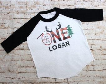 Lumberjack Monogrammed Toddler Shirt - Buffalo Plaid - First Birthday Shirt - One