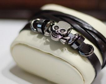Mens Leather Bracelet,Skull Head Bracelet, Leather Bracelet, Leather wrap Bracelet, Multi strand leather bracelet, Xmas Gift, Gift for him