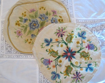 Two Antique Vintage Crewel Needlework on Linen Floral Throw Pillow Covers in Pink, Blue, Green, and Yellow.  Shabby Tattered Lovely!