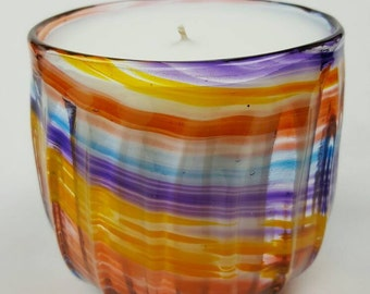 Large Hand blown rainbow color candle - one of a kind gift