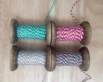 10m Length of Christmas Bakers Twine - Everlasto British Made - 3mm - Red/Green/White Twine - Green/White - Metallic Gold/White - Packaging
