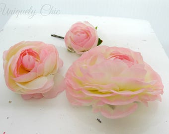 Blush pink hair accessories, Ranunculus wedding hair pins, Flower girl hair pin, Wedding hair accessories, Bridal Accessories