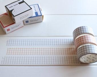 Grid Washi Tape, Planner Tape, Geometric Washi, Lined Paper Washi, graph paper planner tape, washi tape set (PT-122, 123, 124)