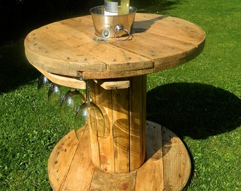 Handmade Rustic Industrial Garden Drinks Wine Table with Ice Bucket and Glass Hangers Cable Reel
