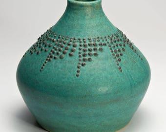 Hand Thrown Turquoise Blue Stoneware Vase