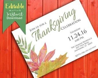 Thanksgiving Dinner Invite * Thanksgiving Invite Template * Thanksgiving Editable Invitation * Thanksgiving Celebration Invite