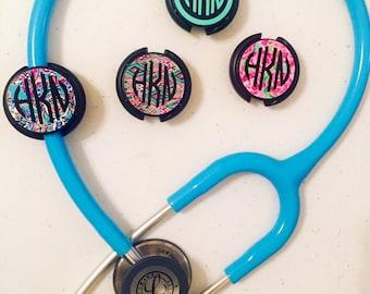 Monogrammed Stethoscope ID Tags | Lilly Pulitzer Monogram Stethoscope ID Tags | Name Tag Stethoscope | Nursing | Nurse Gift | ID Tag Nurse |