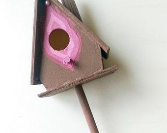 Mini Birdbox \\ Tiny Vagina Birdhouse Pick \\ Triangular Style \\ Deep Brown Color \\ Bald