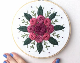 "Roseburst {6"" Embroidered Hoop} // embroidery art, embroidery hoop, floral embroidery"