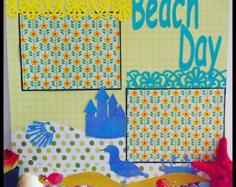 Beach Day Premade Scrapbook Page, 12x12 Scrapbook page,Premade Scrapbook Layouts,