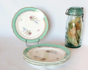 Lovely Vintage Service of 5 Dessert Plates CHENONCEAUX CIBON, Digoin & Sarguemines, Green and White, Gold Ornaments, Spring Flowers, France