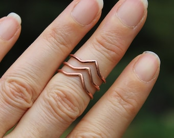 Chevron Ring, Copper Ring, Midi Ring, Stacking Ring, Stackable Ring for Women, Copper Ring Women, Boho Jewelry, Hippie