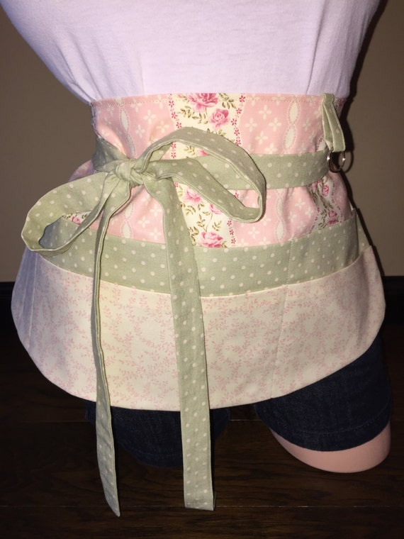 Pink, Off White, and Green Apron