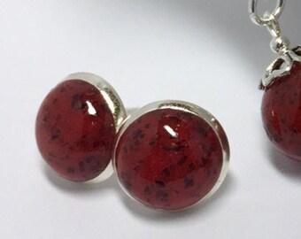 PWSC06, Flower petal keepsake jewelry, memorial jewelry , cabochon post earrings