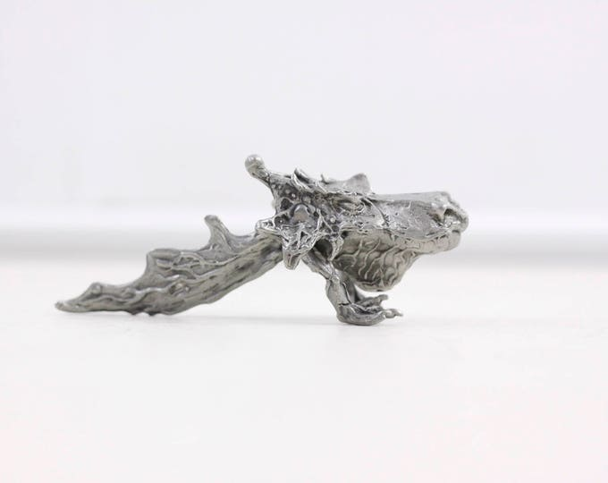 Pewter dragon figurine, artist made small dragon statue, swamp monster D&D rolepaying figurine, mystical fantasy creature, mystery object