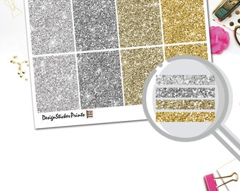 Silver and Gold Glitter Header Stickers/Planner Stickers for Erin Condren Lifeplanner/Happy Planner Stickers/Glitter Header kit