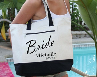 Bridal Party Bag with Name, Heavy tote bag zippered main compartment, Heavy canvas, Carryall, Bachelorette Party, Minnie Mouse Bag,