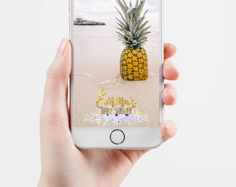 Gold, Rose Gold or Sparkly Baby Shower Geofilter With Watercolor Flowers