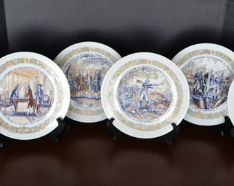 Vintage Set of Six D'Arceau Limoges Lafayette Legacy Collection Plates - Premiere Edition