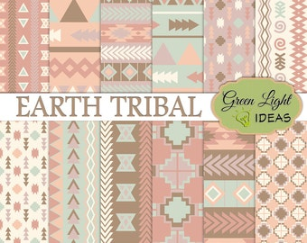 Earth Tribal Digital Papers, Tribal Arrows Scrapbook Paper, Aztec Navajo Tribal Background, Geometric Fall Commercial Use Printable Paper